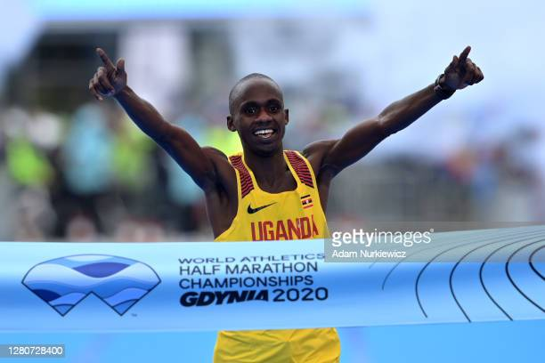 Jacob Kiplimo of Uganda crosses the line to win the Men's Final Race during the World Athletics Half Marathon Championships on October 17, 2020 in...