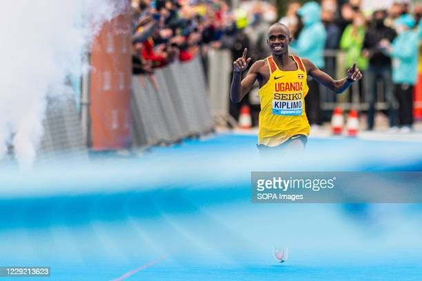 Jacob Kiplimo of Uganda in action during 2020 IAAF World Half Marathon Championships in Gdynia