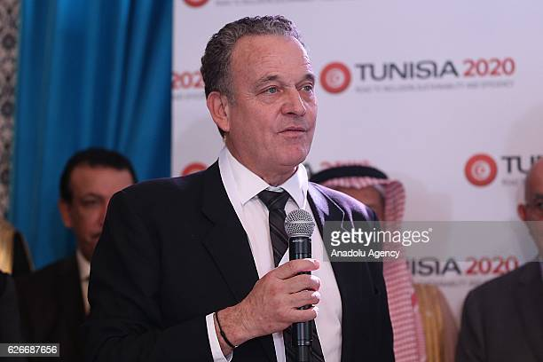 Jacob Kolster Director North Africa at African Development Bank delivers a speech during the International Conference in support of Tunisias economic...