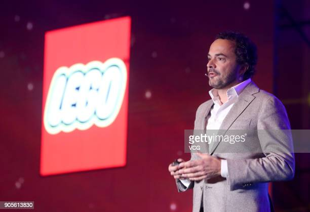 Jacob Kragh General Manager of LEGO China attends a news conference on January 15 2018 in Beijing China Chinese internet giant Tencent has signed a...