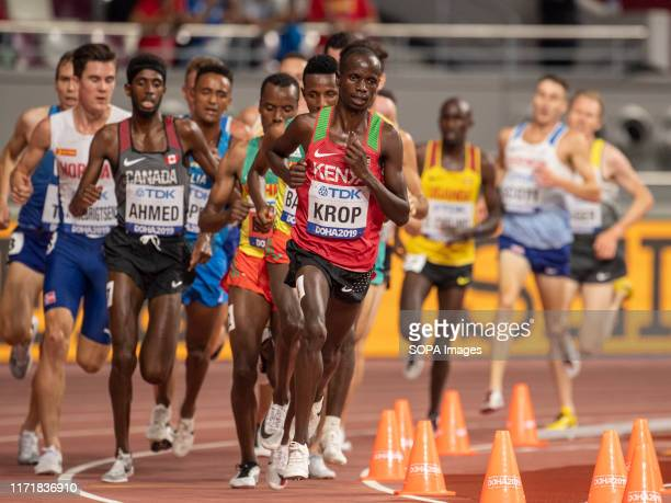 Jacob Krop of Kenya competes in the Men's 5000 metres heats during day one of 17th IAAF World Athletics Championships Doha 2019 at Khalifa...