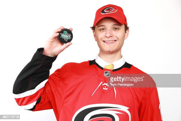 Jacob Kucharski poses after being selected 197th overall by the Carolina Hurricanes during the 2018 NHL Draft at American Airlines Center on June 23...