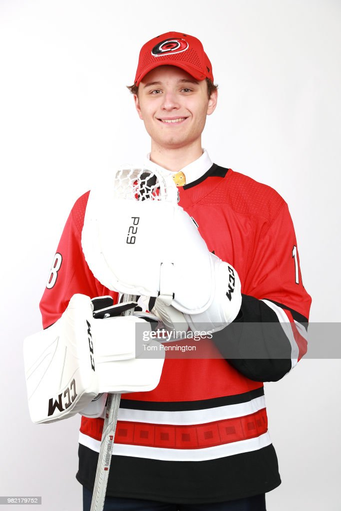 Jacob Kucharski poses after being selected 197th overall by the Carolina Hurricanes during the 2018 NHL Draft at American Airlines Center on June 23, 2018 in Dallas, Texas.