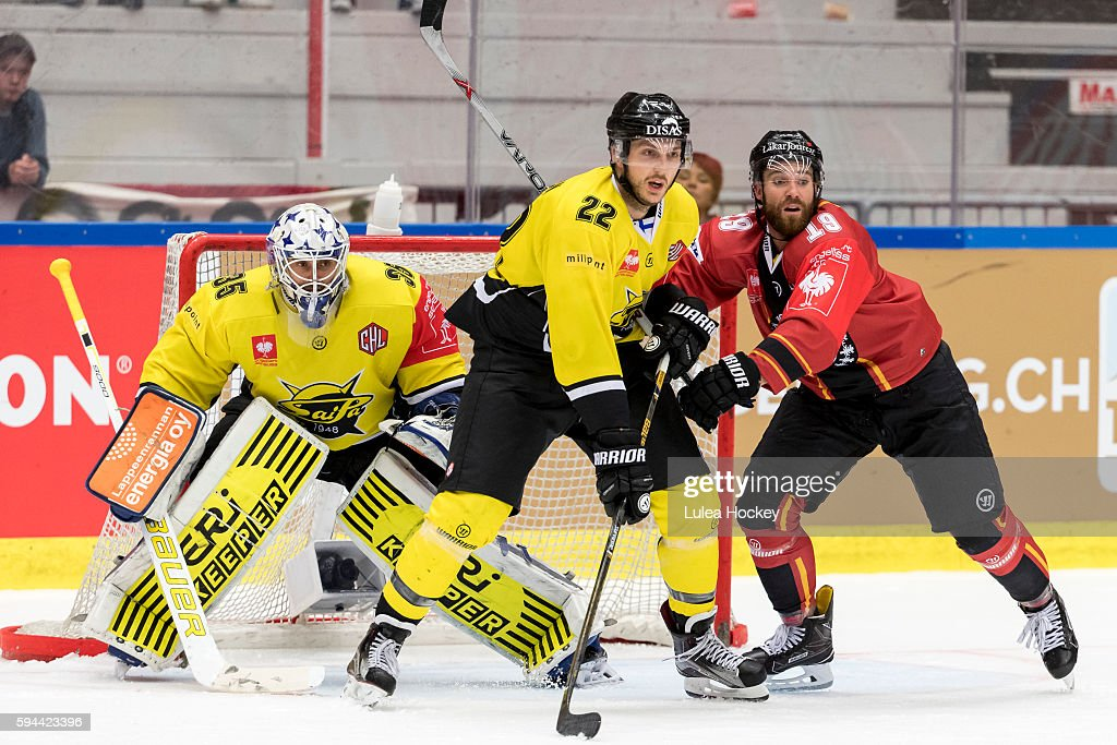 Jacob Lagacé #19 of Lulea Hockey looking area in front of Frans Tuohimaa #35 of SaiPa Lappeenranta during the Champions Hockey League match between Lulea Hockey and SaiPa Lappeenranta at Coop Norrbotten Arena on August 23, 2016 in Lulea, Sweden.