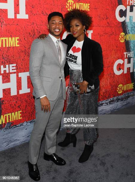 Jacob Latimore and Yolanda Ross attend the premiere of Showtime's 'The Chi' on January 03 2018 in Los Angeles California