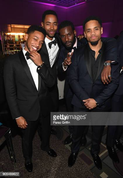 Jacob Latimore Jay Ellis Kofi Siriboe and Mack Wilds attends 49th NAACP Image Awards After Party at Pasadena Civic Auditorium on January 15 2018 in...