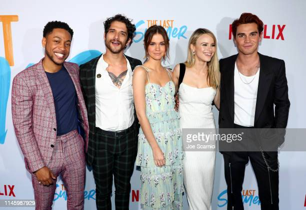 Jacob Lattimore Tyler Posey Maia Mitchell Halston Sage and KJ Apa attend a special screening of Netflix's 'The Last Summer' at the TCL Chinese...