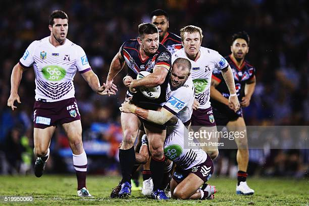 Jacob Lillyman of the Warriors charges forward during the round six NRL match between the New Zealand Warriors and the Manly Sea Eagles at Mt Smart...