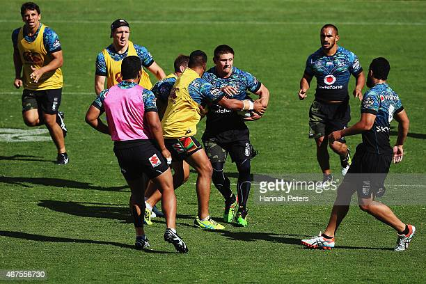 Jacob Lillyman of the Warriors runs through drills during a New Zealand Warriors NRL training session at Mt Smart Stadium on March 26 2015 in...