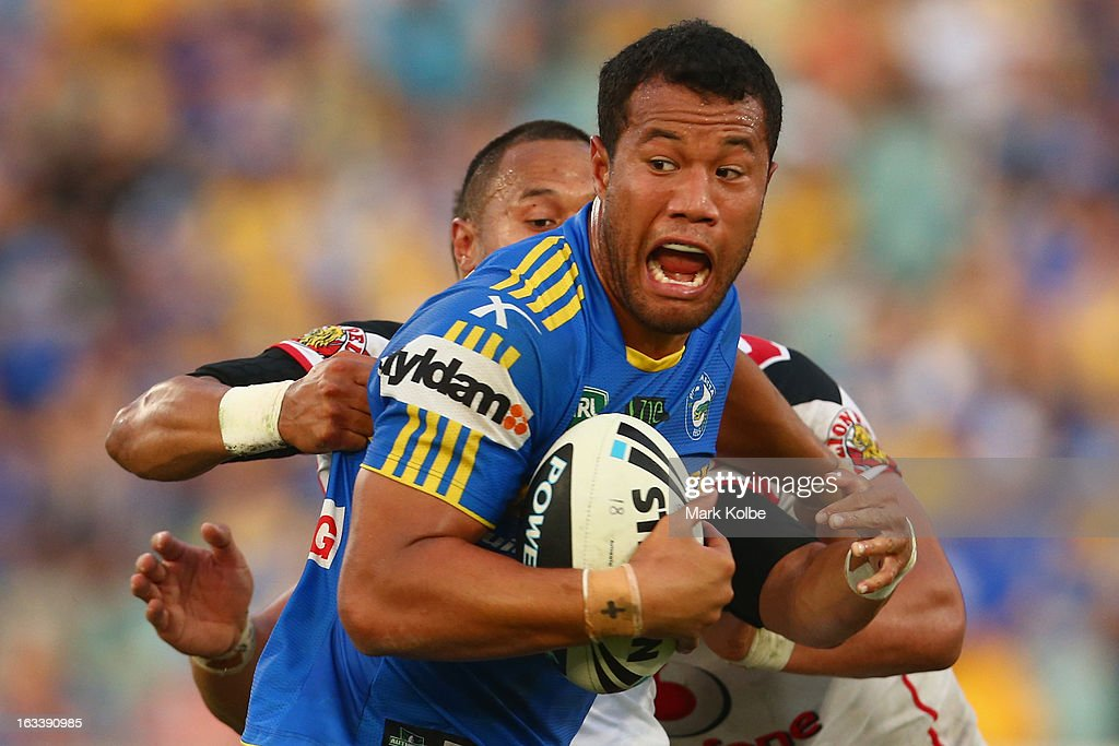 Jacob Loko of the Eels is tackled during the round one NRL match between the Parramatta Eels and the Warriors at Parramatta Stadium on March 9, 2013 in Sydney, Australia.