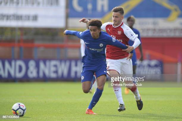Jacob Maddox during the Premier League 2 match between Chelsea and Arsenal at on October 28 2017 in Aldershot England