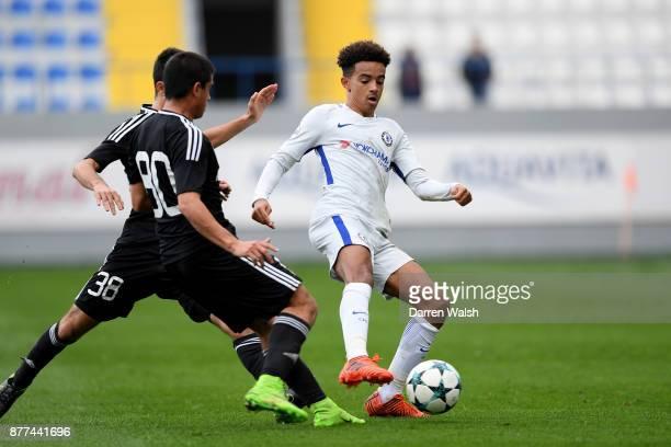 Jacob Maddox of Chelsea and Ibrahim Gadirzada and Yusif Hasanov of Qarabag FK during the UEFA Champions League group C match between Qarabag FK and...