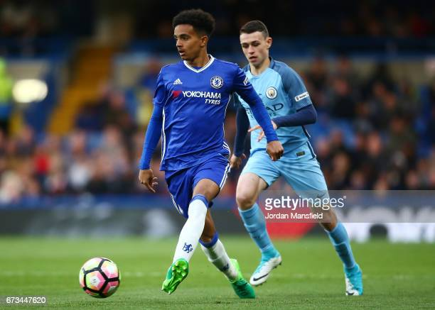 Jacob Maddox of Chelsea and Phil Foden of Manchester City in action during the FA Youth Cup Final second leg between Chelsea and Mancherster City at...