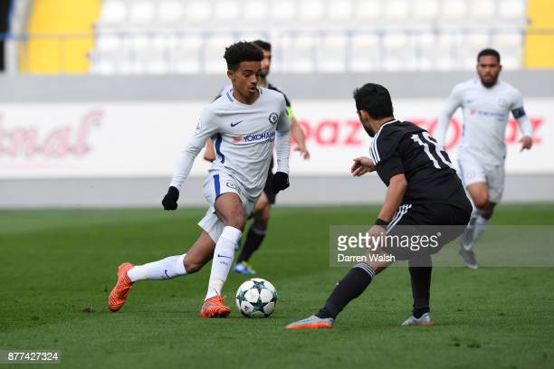 Jacob Maddox of Chelsea and Suleyman Ahmadov of Qarabag FK during the UEFA Champions League group C match between Qarabag FK and Chelsea FC at...