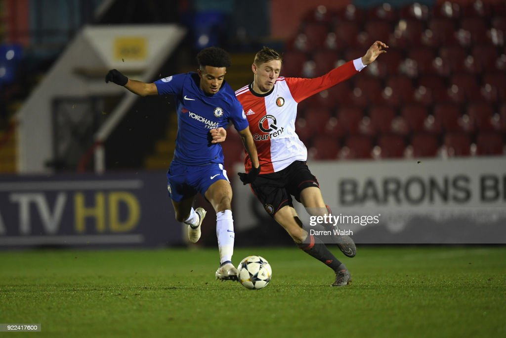 Jacob Maddox of Chelsea and Wouter Burger of Feyenoord during the UEFA Youth League Round of 16 match between Chelsea FC and Feyenoord at EBB Stadium on February 21, 2018 in Aldershot, United Kingdom.