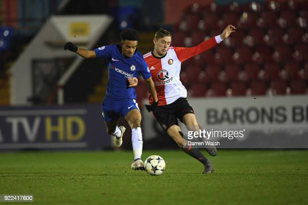 Jacob Maddox of Chelsea and Wouter Burger of Feyenoord during the UEFA Youth League Round of 16 match between Chelsea FC and Feyenoord at EBB Stadium...
