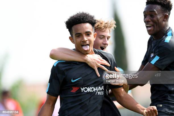 Jacob Maddox of Chelsea celebrates his goal with Charlie Brown during the UEFA Champions League group C match between Atletico Madrid and Chelsea FC...
