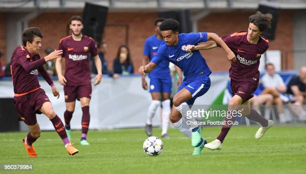 Jacob Maddox of Chelsea during the Chelsea FC v FC Barcelona UEFA Youth League Final at Colovray Sports Centre on April 23 2018 in Nyon Switzerland