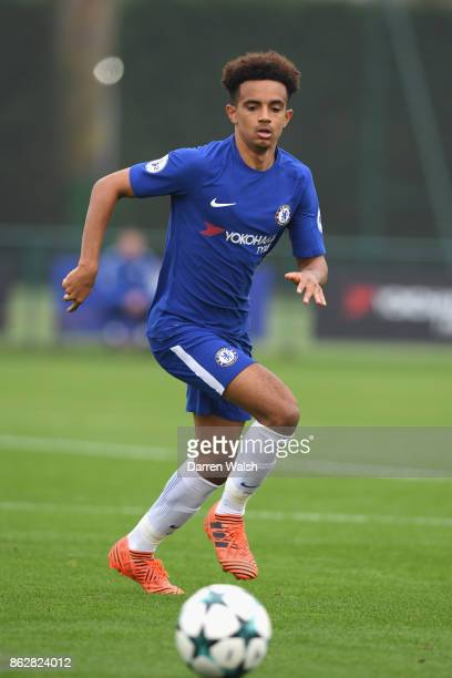 Jacob Maddox of Chelsea during the UEFA Youth League group C match between Chelsea FC U19 and AS Roma U19 at Chelsea Training Ground on October 18...