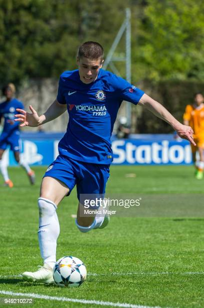 Jacob Maddox of Chelsea FC in action during the semifinal football match between Chelsea FC and FC Porto of UEFA Youth League at Colovray Sports...