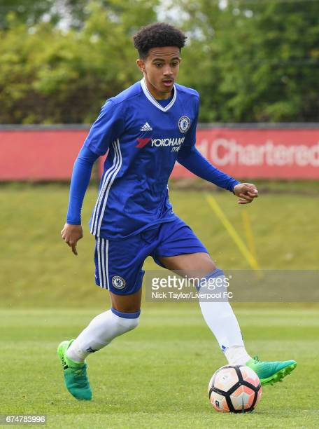 Jacob Maddox of Chelsea in action during the Liverpool v Chelsea U18 Premier League game at The Kirkby Academy on April 29 2017 in Kirkby England