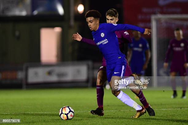 Jacob Maddox of Chelsea runs with the ball during the Premier League 2 match between Chelsea and Manchester City on December 19 2017 in Aldershot...
