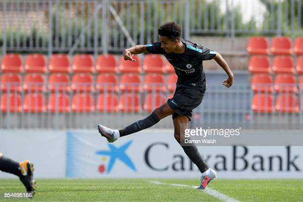 Jacob Maddox of Chelsea scores his goal during the UEFA Champions League group C match between Atletico Madrid and Chelsea FC at Ciudad Deportiva...