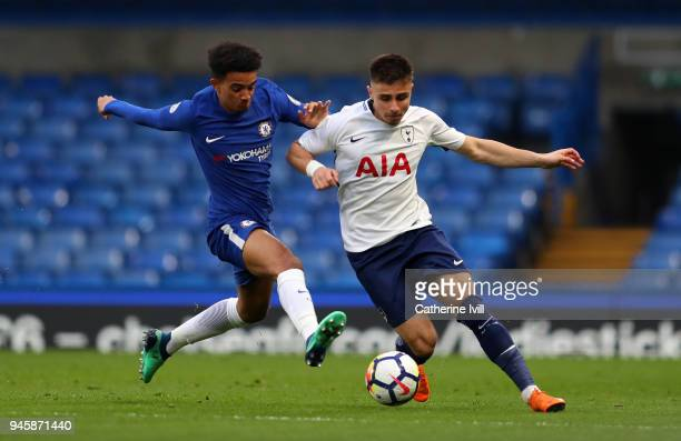 Jacob Maddox of Chelsea tackles Anthony Georgiou of Tottenham Hotspur during the Premier League 2 match between Chelsea and Tottenham Hotspur at...