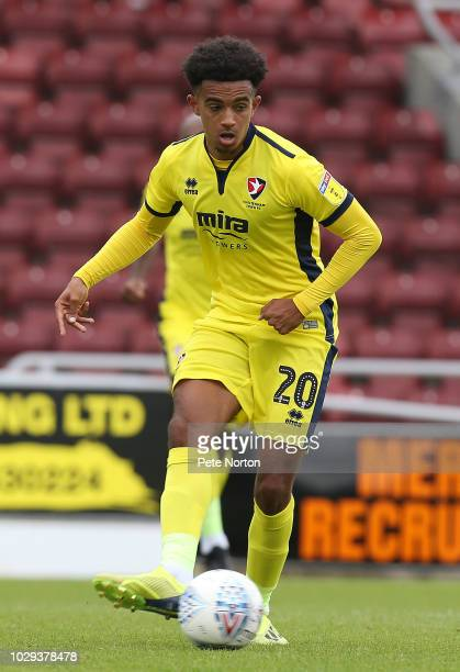 Jacob Maddox of Cheltenham Town in action during the Sky Bet League Two match between Northampton Town and Cheltenham Town at PTS Academy Stadium on...