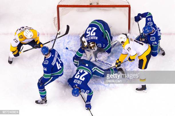 Jacob Markstrom makes a save as Alexander Edler Erik Gudbranson and Bo Horvat of the Vancouver Canucks defend against Calle Jarnkrok and Miikka...