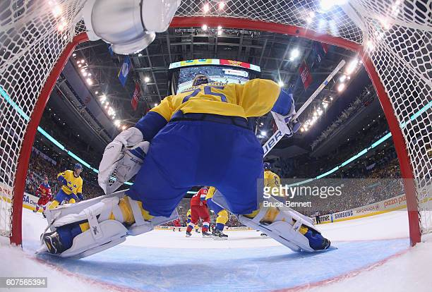 Jacob Markstrom of Team Sweden blocks the net against Team Russia during the second period during the World Cup of Hockey 2016 at the Air Canada...