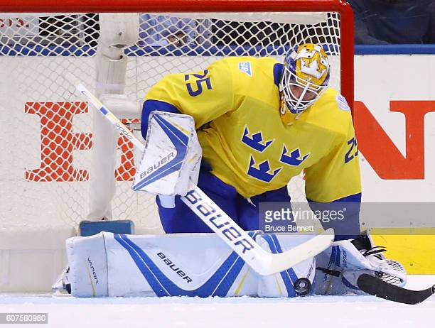 Jacob Markstrom of Team Sweden makes a second period save against Team Russia during the World Cup of Hockey 2016 at the Air Canada Centre on...