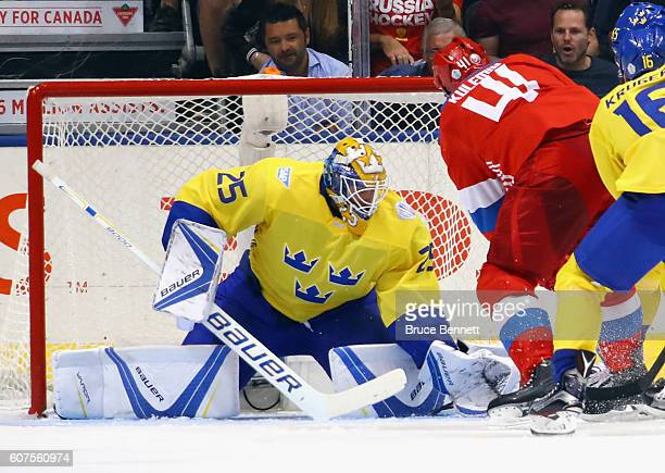 Jacob Markstrom of Team Sweden makes a second period save on Nikolay Kulemin of Team Russia during the World Cup of Hockey 2016 at the Air Canada...