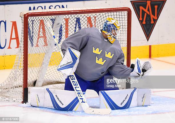 Jacob Markstrom of Team Sweden takes shots during the World Cup of Hockey 2016 practice sessions at Air Canada Centre on September 24 2016 in Toronto...
