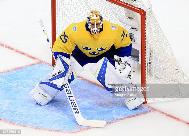 Jacob Markstrom of Team Sweden watches the puck during a World Cup of Hockey 2016 game against Team Russia at Air Canada Centre on September 18 2016...