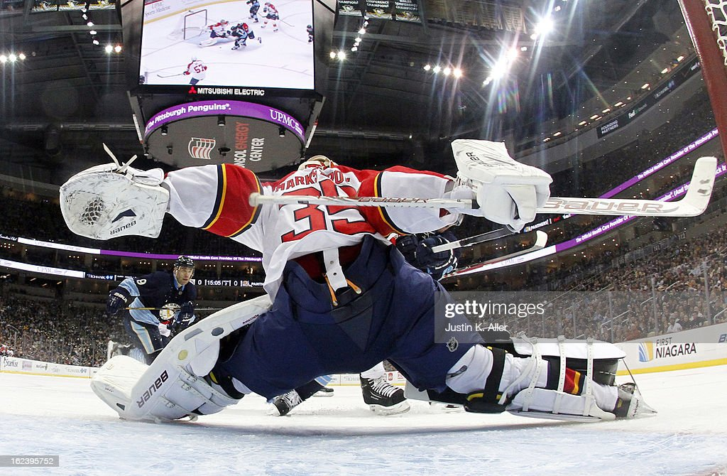 Jacob Markstrom #35 of the Florida Panthers makes a save against the Pittsburgh Penguins during the game at Consol Energy Center on February 22, 2013 in Pittsburgh, Pennsylvania. The Penguins won 3-1.
