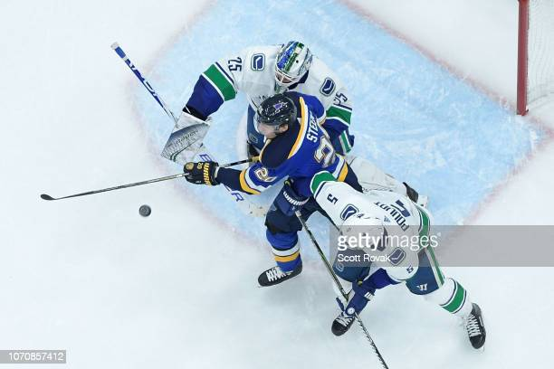 Jacob Markstrom of the Vancouver Canucks and Derrick Pouliot of the Vancouver Canucks defend the net against Alexander Steen of the St Louis Blues at...