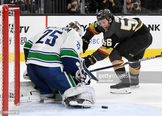 Jacob Markstrom of the Vancouver Canucks blocks a shot by Erik Haula of the Vegas Golden Knights in overtime of their game at TMobile Arena on...