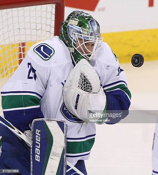 Jacob Markstrom of the Vancouver Canucks blocks a shot on goal in first period action in an NHL game against the Winnipeg Jets at the MTS Centre on...