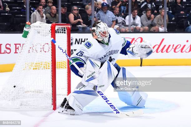 Jacob Markstrom of the Vancouver Canucks defends the net during a game against the Los Angeles Kings at STAPLES Center on September 16 2017 in Los...
