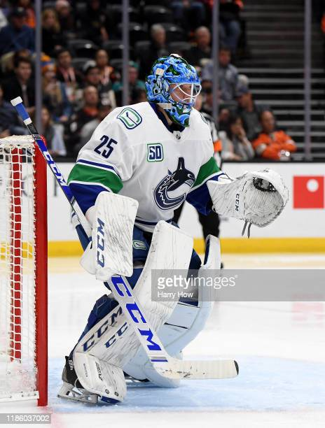 Jacob Markstrom of the Vancouver Canucks in goal during a 21 Anaheim Ducks ovetime win at Honda Center on November 01 2019 in Anaheim California