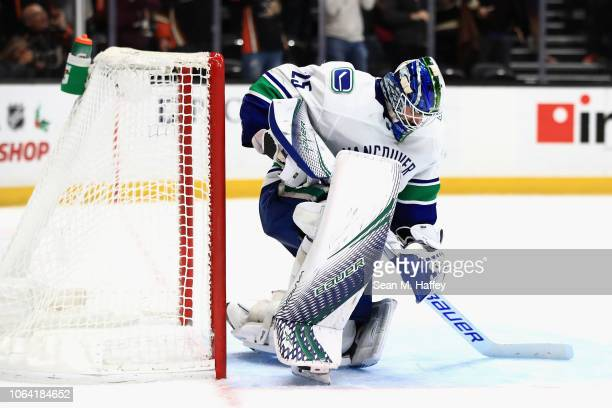 Jacob Markstrom of the Vancouver Canucks looks on after a goal by Kalle Kossila of the Anaheim Ducks during the third period of a game at Honda...