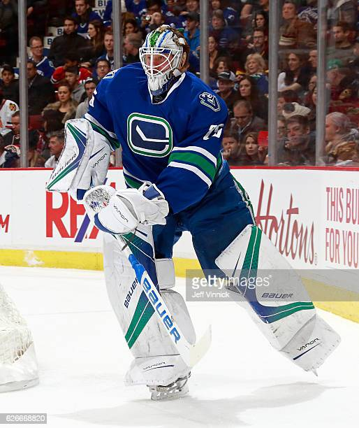 Jacob Markstrom of the Vancouver Canucks looks on from behind his crease during their NHL game against the Chicago Blackhawks at Rogers Arena...