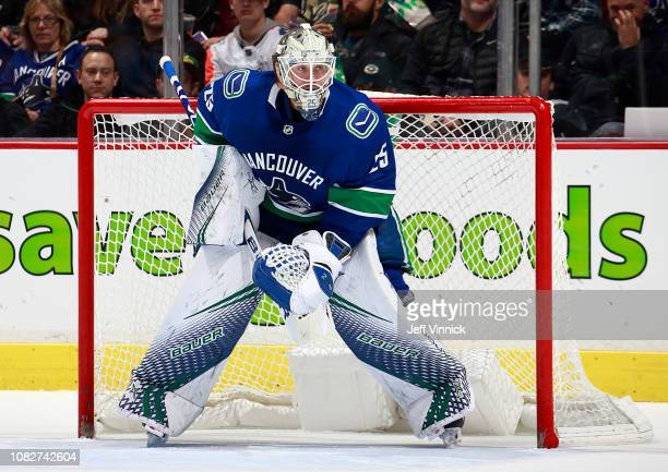 Jacob Markstrom of the Vancouver Canucks looks on from his crease during their NHL game against the Vegas Golden Knights at Rogers Arena November 29...