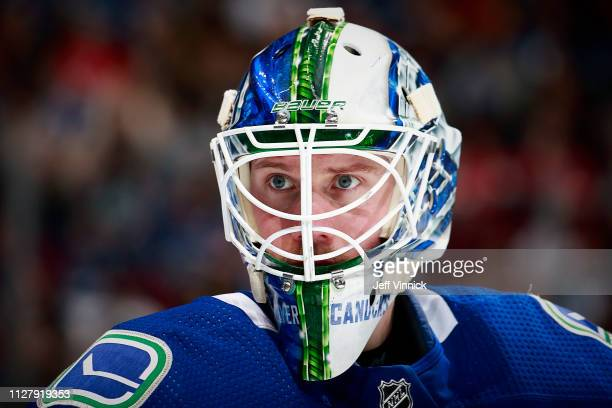 Jacob Markstrom of the Vancouver Canucks looks on from his crease during their NHL game against the Florida Panthers at Rogers Arena January 13 2019...