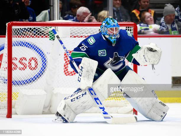 Jacob Markstrom of the Vancouver Canucks looks on from his crease during their NHL game against the Los Angeles Kings at Rogers Arena October 9 2019...