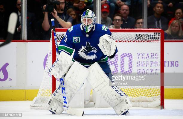 Jacob Markstrom of the Vancouver Canucks looks on from his crease during their NHL game against the New Jersey Devils at Rogers Arena November 10...