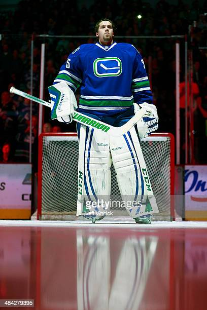 Jacob Markstrom of the Vancouver Canucks looks on from his crease during their NHL game against the Colorado Avalanche at Rogers Arena April 10 2014...