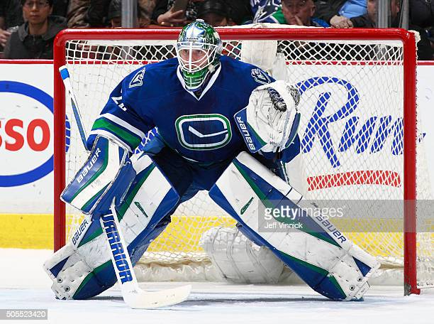 Jacob Markstrom of the Vancouver Canucks looks on from his crease during their NHL game against the Florida Panthers at Rogers Arena January 11 2016...