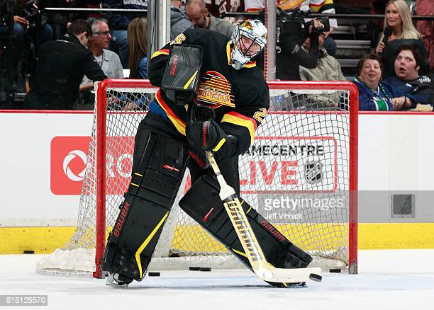 Jacob Markstrom of the Vancouver Canucks looks on from his crease during their NHL game against the Toronto Maple Leafs at Rogers Arena February 13...